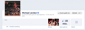 Michael Jordan Facebook fan page juni 2013